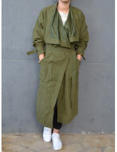Maxi trench long fluide col cascade - manteau femme Vert kaki