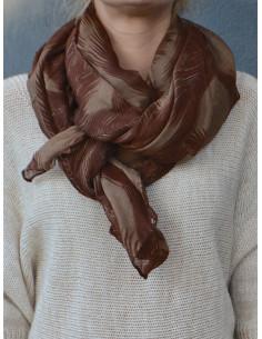 Foulard fluide motif feuilles de palmier - Marron