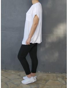 T-shirt fluide avec poche - Blanc
