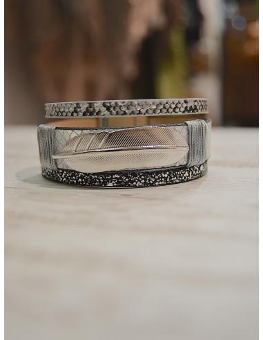 Manchette aimantée nacrée avec plume - Bracelet magnétique en cuir Gris argenté