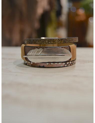 Manchette aimantée nacrée avec plume argentée - Bracelet magnétique en cuir Marron chocolat