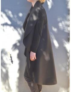 Manteau femme sans manche long en laine col cascade noir