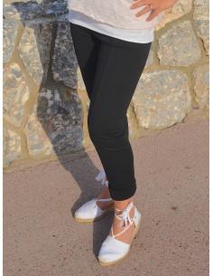Pantalon legging opaque en coton noir élastique moulant slim pour femme