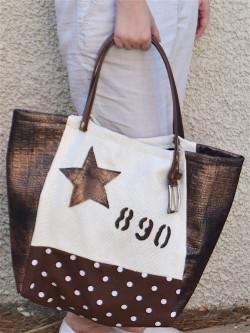 sac a main en lin beige Cabas artisanal en toile tissu marron a pois blanc et simili cuir imitation python marron étoile