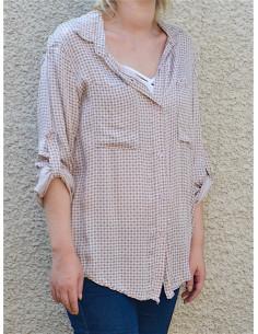 chemise femme fluide rose pale avec motif chemise rose poudrée manches longues avec poches sur la poitrine
