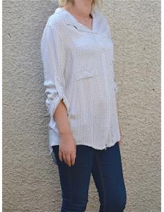 Chemise femme fluide blanche avec motif chemise blanche manches longues avec poches sur la poitrine