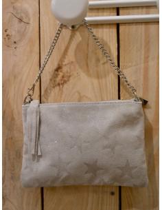 Pochette en cuir de vachette grise avec étoile paillette sac en peau étoiles pailletées anse en chaine gris made in italy