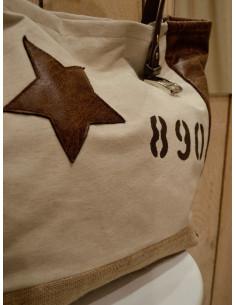 Sac a main en toile de jute beige Cabas artisanal en toile tissu beige et simili imitation cuir vieilli marron étoile