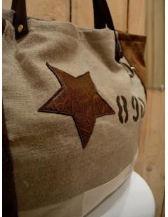 Sac a main en toile de lin beige Cabas artisanal en tissu rayé beige et blanc et simili imitation cuir vieilli marron étoile