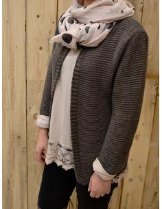 Gilet chaud pour femme en maille avec laine et mohair taupe gilet court ouvert made in italy