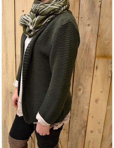 Gilet chaud pour femme en maille avec laine et mohair kaki gilet court ouvert made in italy