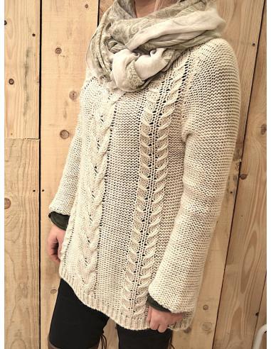 Pull chaud pour femme avec laine et mohair maille torsade beige for Pull long et large