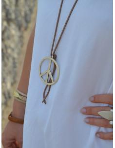 Collier suédine pendentif Peace and Love - Marron clair style hippie chic bohème