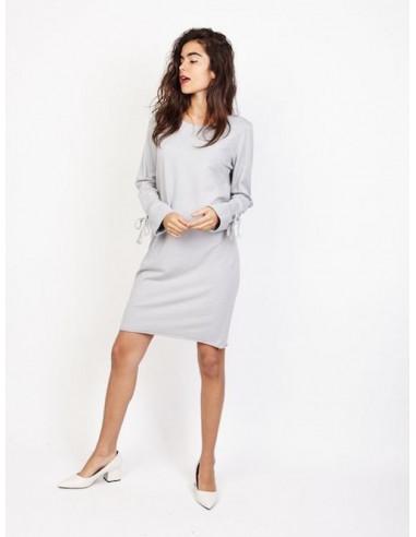 Robe sweat en coton sweat shirt long femme grise col rond décontracté chic avec noeud en ruban lacet au bout des manches longues