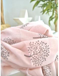 Foulard fluide imprimé arbre de vie - Rose pale