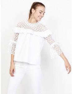 blouse blanche dentelle femme tunique macramé blanc bohème chic haut col montant top en coton avec volant et ruban