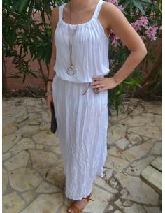 Robe longue hippie chic blanche coton fluide