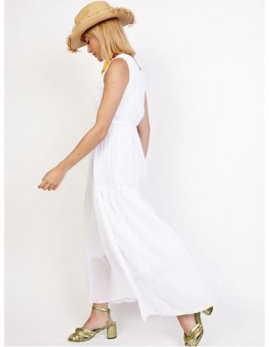 robe longue été 2017 femme blanche bohème chic dentelle crochet col V