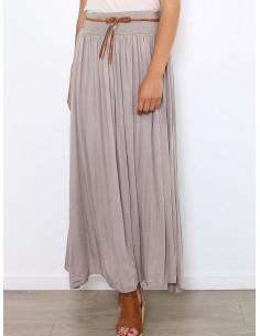 jupe longue en voile de coton taupe taille haute fluide chic vêtement femme made in italy
