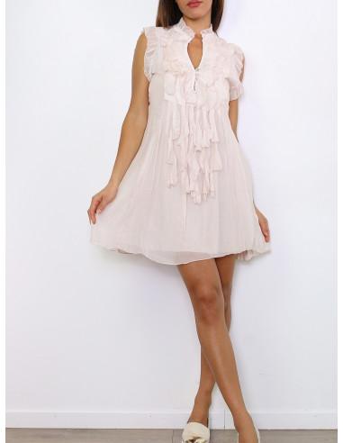 robe en soie rose pale poudré pastel voile fluide vaporeuse made in italy avec col v volants et froufrous