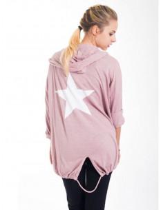 Veste en coton étoile au dos avec capuche - Rose pale