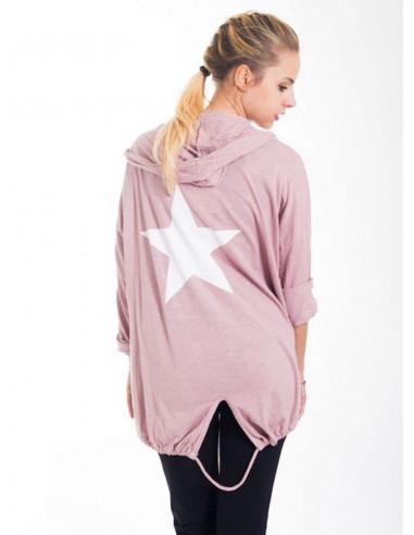 Veste gilet pour femme en maille de coton rose pale poudrée capuche et étoile au dos made in italy