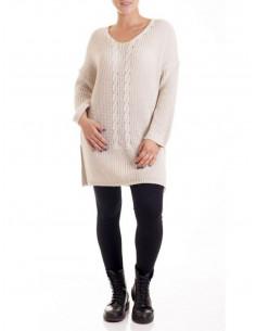 Pull femme long torsades grande taille avec laine - Beige
