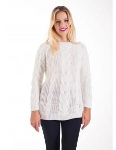 Pull femme torsadé avec laine et mohair col bateau - Blanc