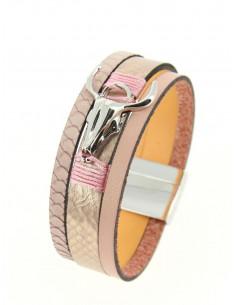 Manchette aimantée en cuir nacré rose pale poudré tete de buffle argent bracelet aimant femme taureau