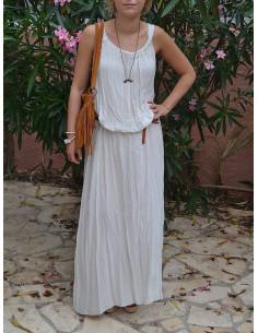 Robe longue hippie chic Beige sable en coton fluide