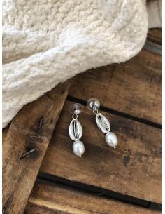 Boucles d'oreilles pendantes strass, cauri, perle argentées