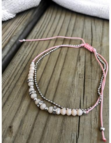 Bracelet de cheville perles rose