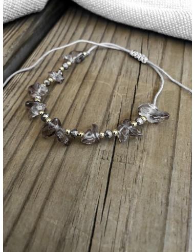 Bracelet pierre perles et pomons gris