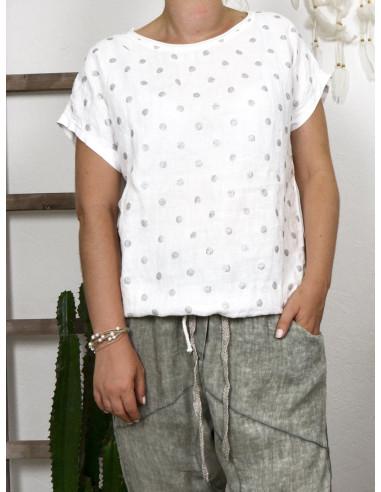 Tee shirt femme lin et coton imprimé pois scintillant made in italy BLANC