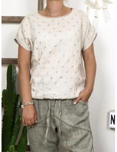 Tee shirt femme lin et coton imprimé pois scintillant made in italy BEIGE