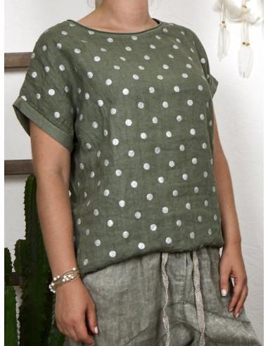 Tee shirt femme lin et coton imprimé pois scintillant made in italy kaki
