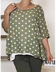 Haut femme 2 en 1 tunique en lin à pois kaki et debardeur coton blanc made in italy