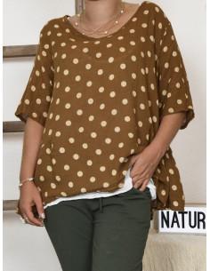 Haut femme 2 en 1 tunique en lin à pois marron et debardeur coton blanc made in italy