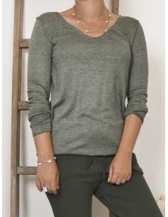 Pull femme maille fine laine mélangée - Kaki