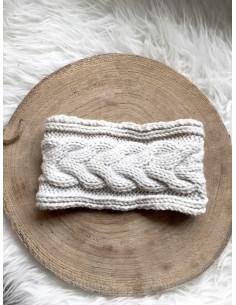 Bandeau cheveux femme hiver tressé avec boutons - Beige