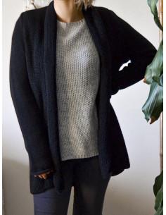 Gilet chaud mi long femme en maille avec laine - Noir