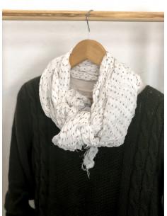 Foulard coton froissé à petits pois - Blanc