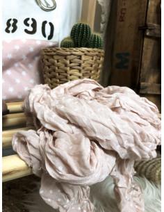 Foulard coton froissé à petits pois - Rose