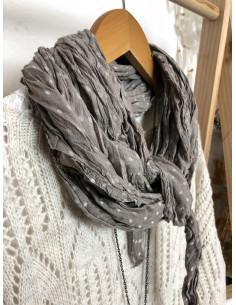 Foulard coton froissé à petits pois - Taupe