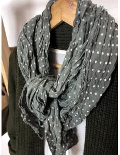 Foulard coton froissé à petits pois - Kaki