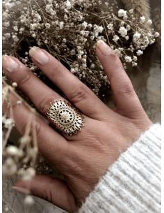 Bague plaqué or HURON femme grosse fleur filigrane bijoux plaqué or tendance femme