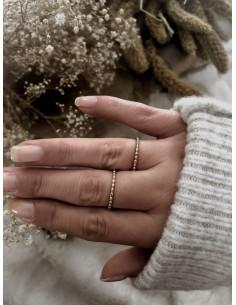 Bague plaqué or Laura femme fine petites boules bijoux plaqué or tendance femme