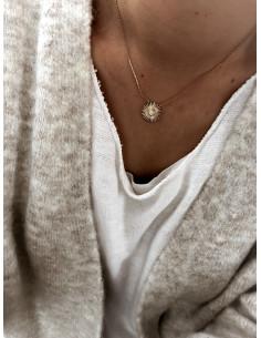 Collier plaqué or SOLAR femme chaine et SOLEIL STRASS ET STRASS ZIRCONIUM bijoux plaqué or tendance femme