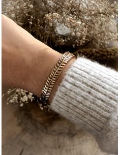 Bracelet jonc plaqué or LÉO filigrane ethnique