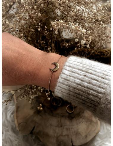 Bracelet plaqué or LUNA chaine et demi lune corne bijoux plaqué or tendance femme